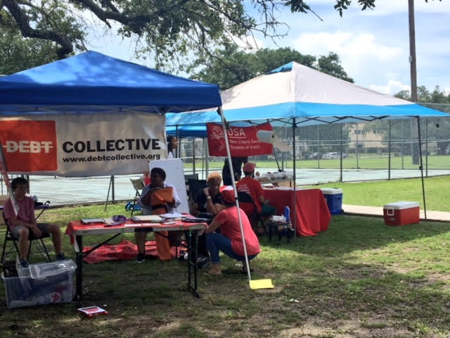 Debt Collective organizers partnered with activists in New Orleans to host a health fair and clinic to share our debt dispute tools.